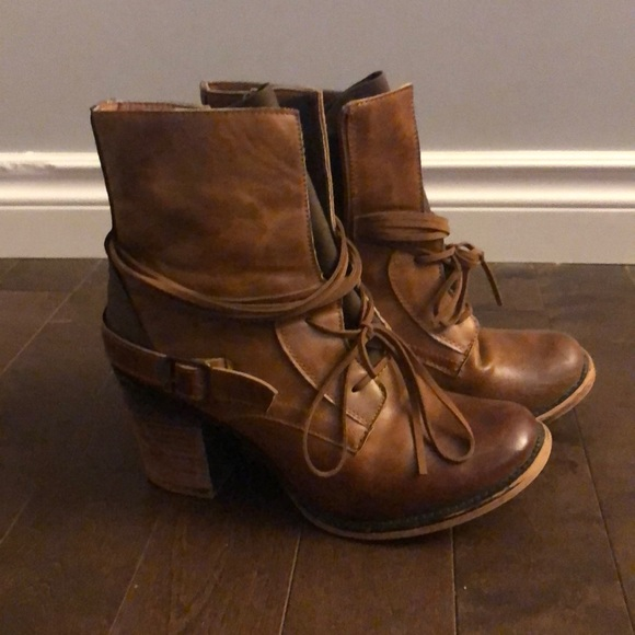 Brown fall booties